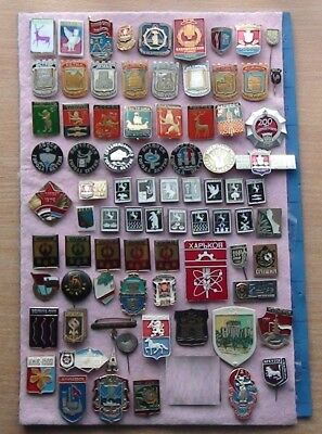 A beautiful collection of rare pins of USSR cities, many photos