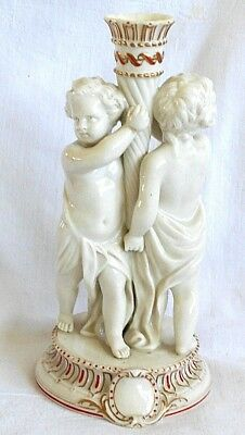 C19Th Copeland Relief Moulded Cherub Candle Holder With Gilding