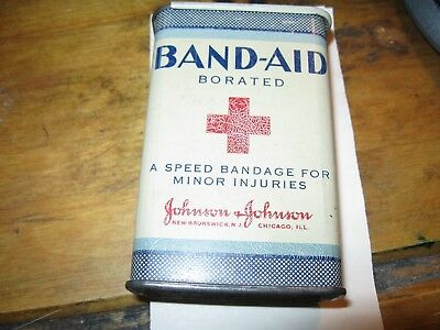 Antique Vintage Borated Pad Band-Aid Tin Red Cross Johnson & Johnson