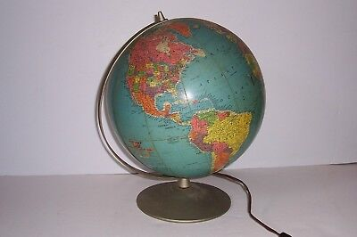 Vintage Mid Century Replogle 12 inch Lighted Library Globe Very Cool on Stand