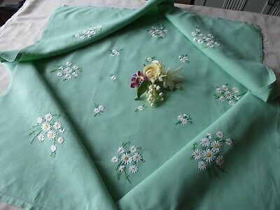 Vintage Hand Embroidered Linen Tablecloth- Beautiful Green Linen With Crocuses