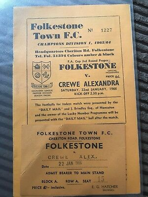 crewe alexandra football programmes 1966. FA CUP with ticket