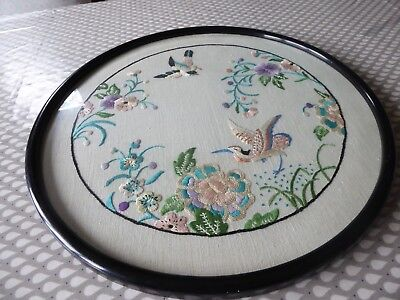 Vintage Hand Embroidered Picture Framed- Beautiful  Jacobean Style With Birds