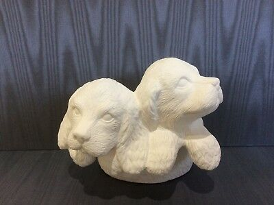 Dog ceramics for pot plants to paint. Unpainted and unglazed dog ceramics