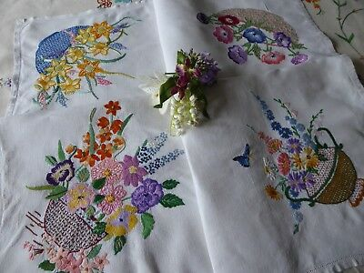 Vintage Hand Embroidered Linen Tablecloth=Beautiful Assorted Floral Bouquets