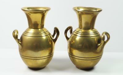 Heavy Antique Brass Chinese Middle Eastern Style Twin Handled Vases 10cm High