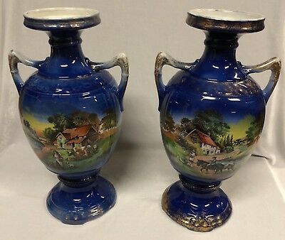 Antique Edwardian Double Handled Vases with Country House Scenes