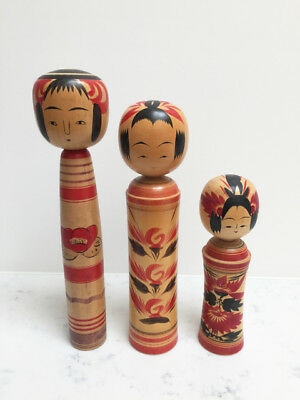Japanese Kokeshi Wooden Doll set