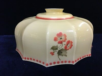 Vintage 1940's-1950's Glass Lamp Shade With Red Flower Pattern