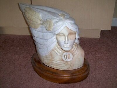Carved Native American Indian by Pablo made of Alabaster Light Tan Color