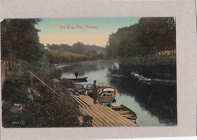 The Boat Pier, Fermoy. by Valentine.Military man by the pier.