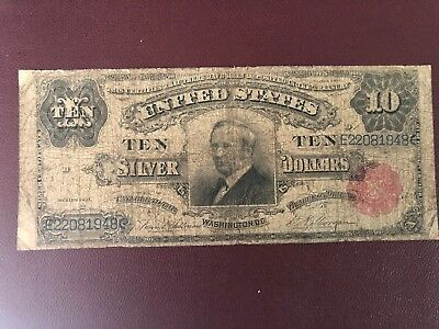 US 1891 $10 Tombstone Silver Certificate VG10  FR 299