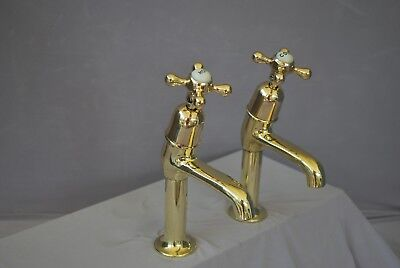 Brass Belfast Kitchen Sink Pillar Taps  Reclaimed & Fully Refurbed Kitchen Taps