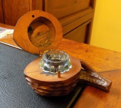 A Antique Old German Wooden Black Forest Travelling Inkwell Shaped Nut / Acorn