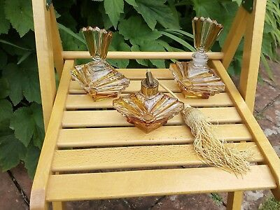 Vintage antique art deco period glass dressing table trio yellow shabby chic