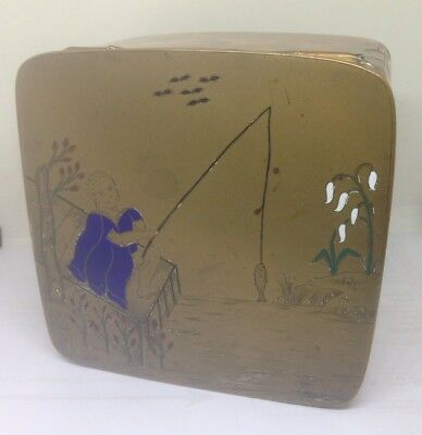 Chinese Trinket / Scholars Box - Hinged And Engraved Brass With Enamel Inlay