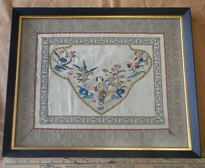 Antique Chinese Tapestry or Needlepoint-Framed
