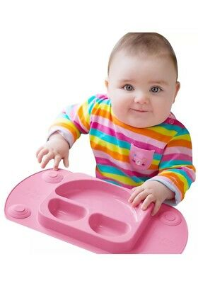 Mini EasyMat® Baby Suction Plate and Placemat In One Pink Brand New Free Postage