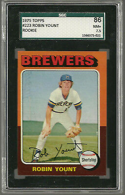 1975 Topps #223 Robin Yount ROOKIE RC HOF Milwaukee Brewers SGC 86 NM+ 7.5
