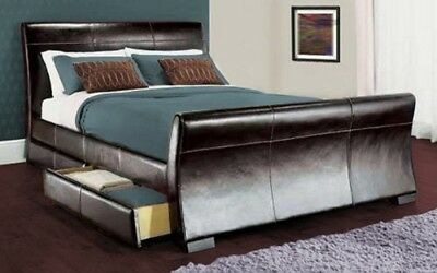 4 Drawers Sleigh Leather Storage Double King Size Bed And Memory Foam Mattress