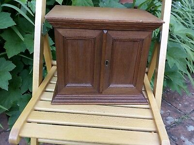 Edwardian humidor or collectors chest oak sith key vintage shabby chic