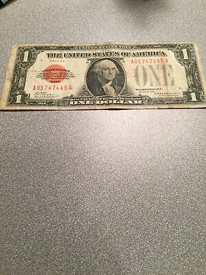 1928 $1 One Dollar Red Seal United States Note Funny Back