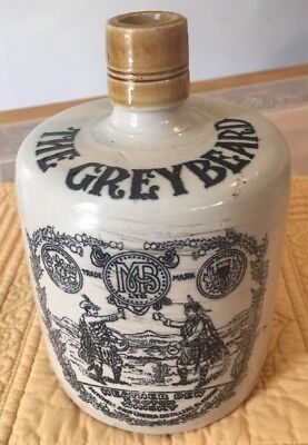 THE GREYBEARD Heather Dew Blended Scotch Whisky, Stoneware Jug. Scotland, VG