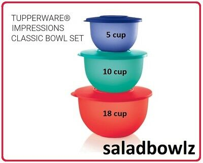 TUPPERWARE New 3 pc IMPRESSIONS CLASSIC BOWL SET 18, 10, 5 1/2 cup Nesting 2018
