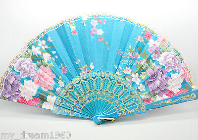 Asian Chinese Hand Held Folding Floral Pattern Silk Gold Lace Fan Blue