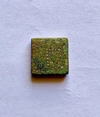 "Ancient Bronze Square Weight, Inscribed With ""γ"". Nice Piece!"