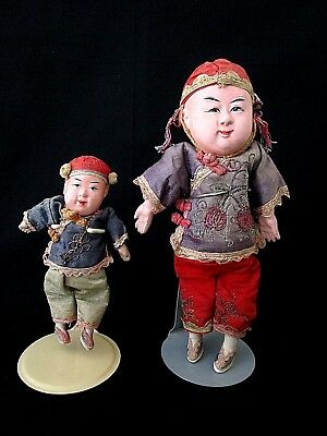 "Antique Vintage Chinese Composition Boy Dolls 8.5"" and 5.5"" ~  Includes Stands"