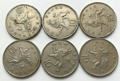 Job Lot of x 6 Coins - British - Old Large 10p - Ten Pence - Queen Elizabeth II