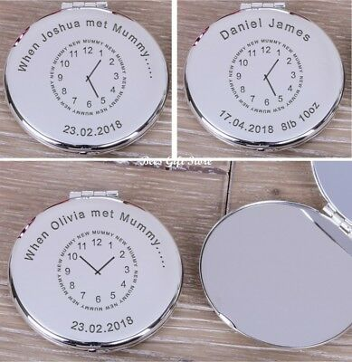 PERSONALISED Silver Plated NEW MUM Mummy Compact MIRROR Gifts For Handbag Makeup