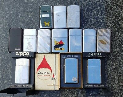 zippo lot of vintage lighters, 1 with flat bottom stamp from 1966 all very rare