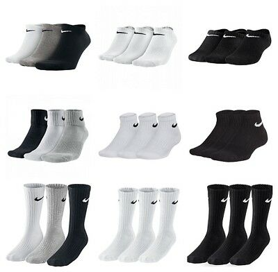 Nike Kids Junior 3 Pair Socks Boys Ankle Crew Cotton Sports Black White