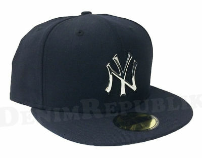 New Era New York Yankees Navy 5950 Fitted Hat Front Metal Polished Badge Cap