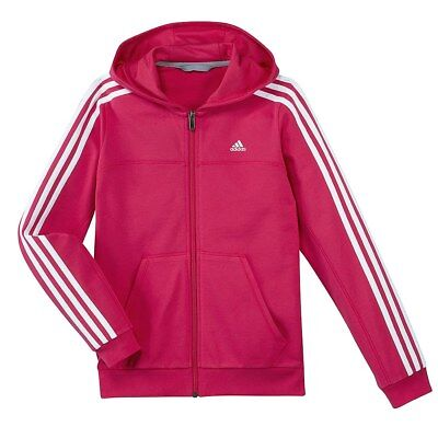 Adidas Girls Casual Pink White FZ Junior Sports Hoodie [F49931] Size 5-6Y RRP£40