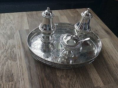 Vintage Silver Plated Cruet Set On Silver Plated Salver.