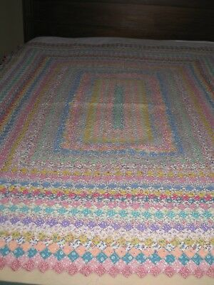 """Antique 1941 Hand Pieced and Hand Quilted 3/4"""" Postage Stamp Child's Quilt"""