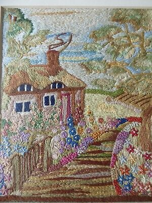 Vintage Hand Embroidered Picture Framed - Fabulous Embroidery Cottage & Gardens