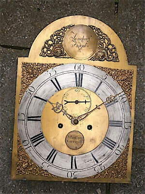 13X18 inch 8day c1770 LONGCASE CLOCK dial + movement JOHN CRAIG, CARRIGILL.