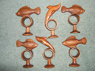 Vintage hand carved wooden fish napkin rings