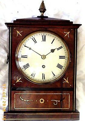 Genuine Antique George 111 Fusee Regency Bracket Mantel Rosewood Brass Clock