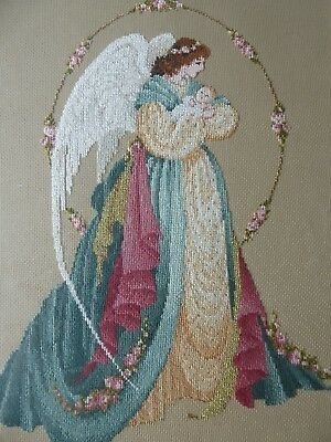 Vintage Hand Embroidered Cross Stitch Picture  Framed- Beautiful Angel And Child