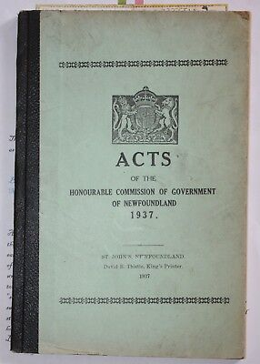 1937 Newfoundland Acts Of The Honourable Commission Of Government Book