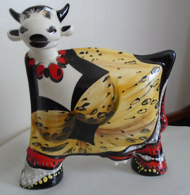 Handpainted Limited Edition Turov Cow in Dress Russian Ceramic Art Large Statue