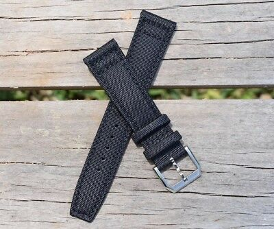 20mm Canvas Mens Army Black Genuine Leather Nylon Watch Band Watch Strap - USA!