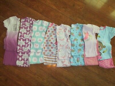 Lot of 8 Short Sleeve Girls Pajamas Size 5T -- Preowned