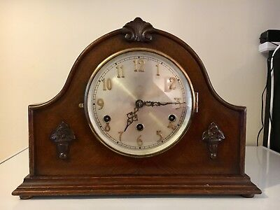 Vintage DRGM German Oak Cased Mantel Mantle Clock