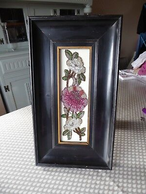 Vintage Hand Embroidered Beadwork Picture - Beautiful Beaded Flowers- Framed